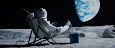 Obraz Back view of lunar astronaut opens a beer bottle while resting in a beach chair on Moon surface, enjoying view of Earth