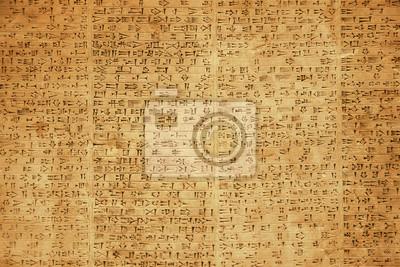 Obraz Background of ancient Babylonian or Persian cuneiform symbols on rock tablets