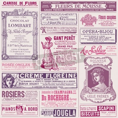 Obraz background pattern with french ads on ladies  topics