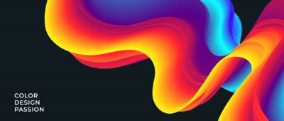 Obraz Background with an abstract liquid color flow and motion of a wavy fluid lines. Eps10.