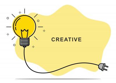 Obraz Badge sign template light bulb empty copy space. Concept creative idea and innovation. Vector illustration