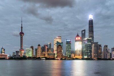 Bajecznie wieczór widok Pudong linia horyzontu w Szanghaj (Lujiazui)