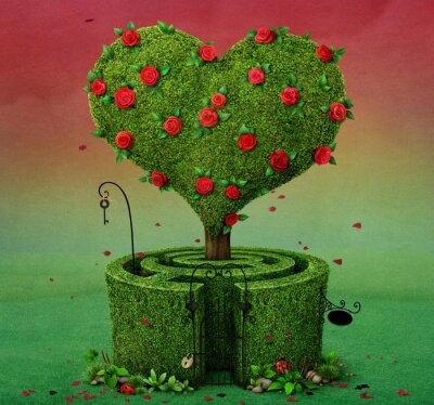 Obraz Bajka ilustracji z drzewa kwitnienia w kształcie serca i labirynt