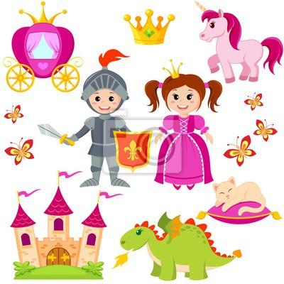 Obraz Bajka księżniczka, rycerz, zamek, karetki, Jednorożec, Korona, na  wymiar • flaga, złoto, sztuka • REDRO.pl