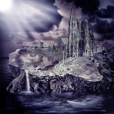 Obraz Bajki. fantastyczny zamek i wieś