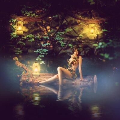 Obraz bajkowy piękna kobieta - Nimfa drewna