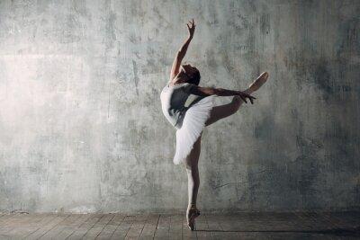 Obraz Balerina żeńska. Młoda piękna kobieta tancerka baletowa, ubrana w profesjonalny strój, buty pointe i białą tutu.