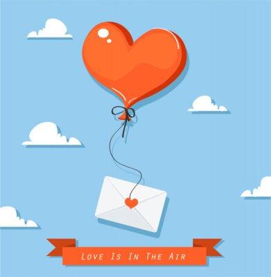 Balon w kształcie serca z ikoną poczty