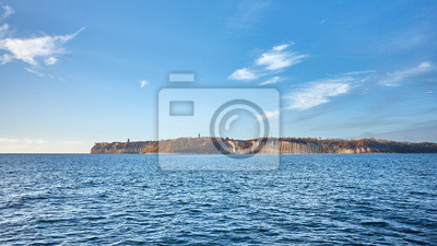 Baltic Sea coast with Rugen Island (Rugia, Ruegen) cliffs at sunrise, Germany.