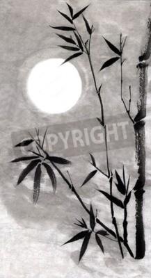 Obraz Bamboo Bambusa i Księżyc. Rysunek stylu Guohua