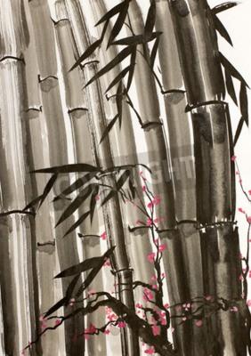 Obraz bambus i kwitnąca śliwa drzewa