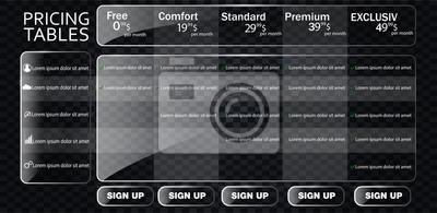 Banery z taryfą plan ze szkła. Porównanie zestawu tabel cenowych dla firm, listy punktowanej z planem komercyjnym.