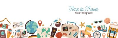 Obraz Banner with traveling and tourism elements. Colorful touristic objects like backpack, suitcase, map and globe and place for text. Summer holiday background. Colored flat vector illustration