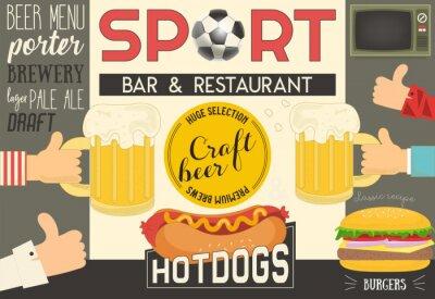 Bar sportowy i restauracja. Menu piwa i fast food. Ilustracji wektorowych.