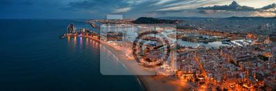 Barcelona Coast aerial night view