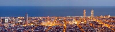 Obraz Barcelona Panorama panoramę na niebieski godziny