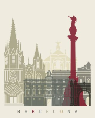 Obraz Barcelona skyline plakat