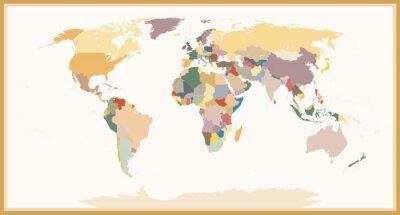 Obraz Bardzo szczegółowe Blind Polityczna mapa świata Vintage Kolory