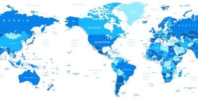 Obraz Bardzo szczegółowe ilustracji wektorowych z mapy świata.