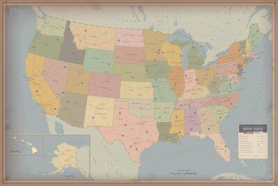 Obraz Bardzo szczegółowe mapy Stanów Zjednoczonych. Autostrada i Map mieszkańców