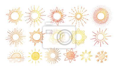Obraz Barwioni Doodle nakreślenia słońce na białym tle