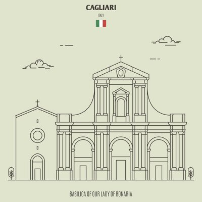 Basilica of Our Lady of Bonaria in Cagliari, Italy. Landmark icon