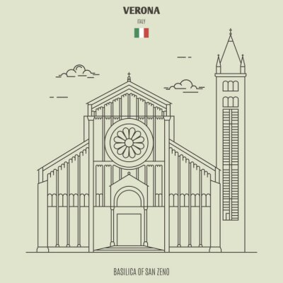 Basilica of San Zeno in Verona, Italy. Landmark icon