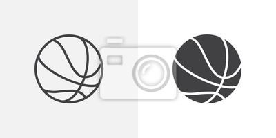 Obraz Basketball ball icon. line and glyph version, outline and filled vector sign. Rubber ball linear and full pictogram. Sports equipment symbol, logo illustration. Different style icons set
