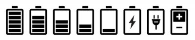 Obraz Battery icons set. Battery charging charge indicator icon. level battery energy. Alkaline battery capacity charge icon. Flat style - stock vector.