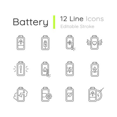 Obraz Battery status linear icons set. Innovational charging process. Using cables for getting electricity. Customizable thin line contour symbols. Isolated vector outline illustrations. Editable stroke