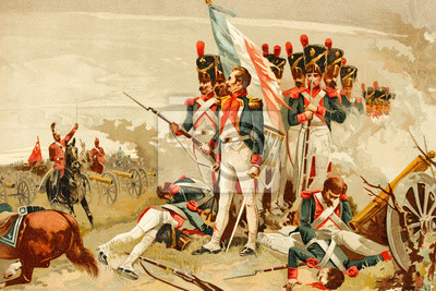 Obraz Battle of Waterloo, Belgium. 1815. French soldiers, imperial guard. Antique illustration. Book of history. 1897.