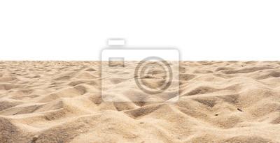 Obraz Beach isolated, beach sand texture di-cut on white.