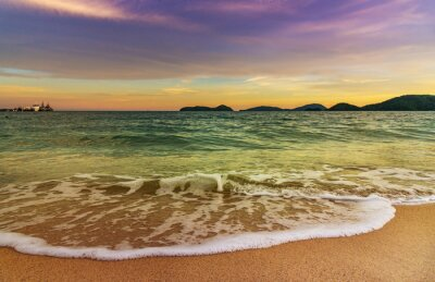 Beach sunset or sunrise with colorful of sky and cloud in twilight