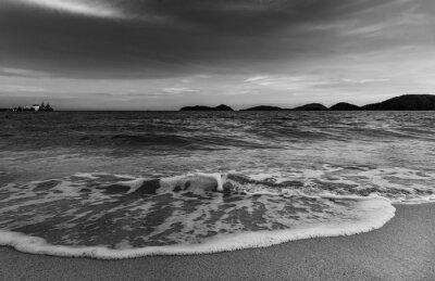 Beach sunset or sunrise with sky and cloud in twilight, Black and white and monochrome style