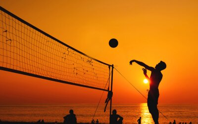 Obraz beach volleyball silhouette