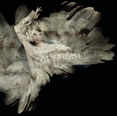 Obraz Beautiful artistic portrait of a girl with plumage on black background