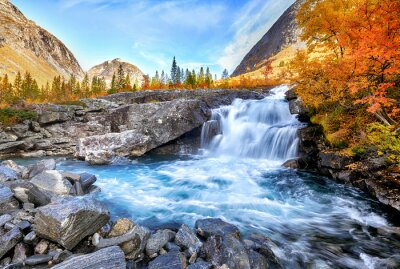 Obraz Beautiful autumn landscape with yellow trees and waterfall