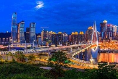 Obraz Beautiful cityscape and modern architecture in chongqing at night,China.