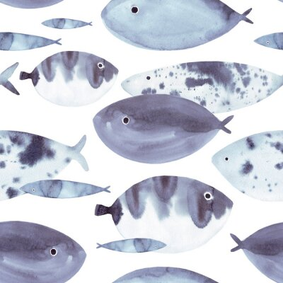 Obraz Beautiful hand drawn watercolor seamless pattern with blue sea fish on the white background. Marine life texture.