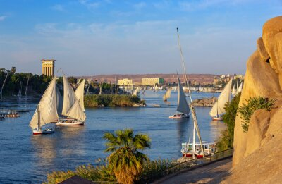 Obraz Beautiful landscape with felucca boats on Nile river in Aswan at sunset, Egypt
