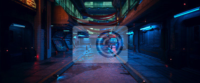 Obraz Beautiful neon night in a cyberpunk city. Photorealistic 3d illustration of the futuristic city. Empty street with blue neon lights.