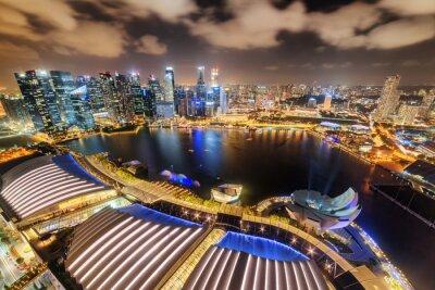 Beautiful night aerial view of Marina Bay in Singapore
