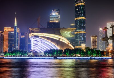 Beautiful night view of modern buildings in Guangzhou, China