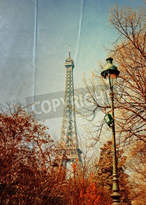 Obraz beautiful Parisian sunshine Eiffel Tower (nickname La dame de fer, the iron lady),The tower has become the most prominent symbol of both Paris and France