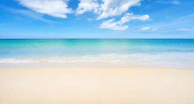 Obraz Beautiful sandy beach and sea with clear blue sky background Amazing  beach blue sky sand sun daylight relaxation landscape view in Phuket island Thailand for Summer and travel background.