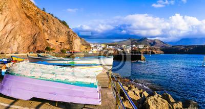 Beautiful scenery of Grand Canary island- scenic coastal town Puerto de Sardina in north
