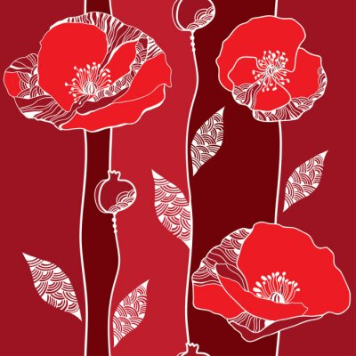 Obraz Beautiful seamless pattern with red poppies