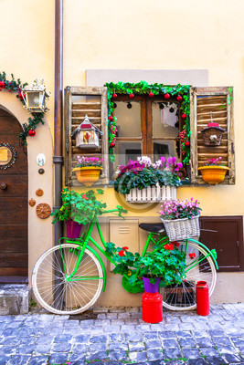 beautiful street decoration with vintage bike and flowers