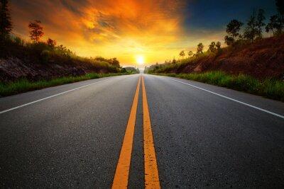 Obraz beautiful sun rising sky with asphalt highways road in rural sce