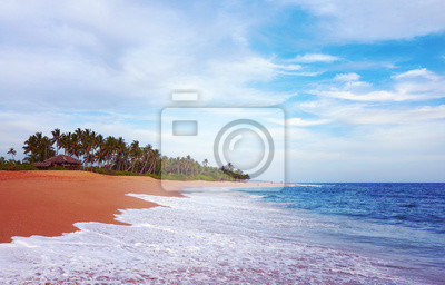 Beautiful tropical beach just before the sunset, color toning applied, Sri Lanka.